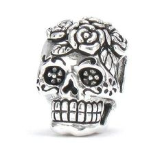 In Stock on Ebay.com - Dia De Los Muertos - Sterling Silver Day Of The Dead Decorated Rose Skull / Sugar Skull F-137 - Fits Pandora and All Compatible Brands - Worldwide Shipping Available