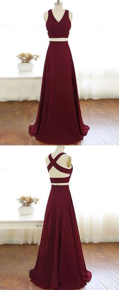 TWO PIECES BURGUNDY CHIFFON LONG PROM DRESS, EVENING DRESS M1022
