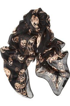 Alexander McQueen Skull Scarf in Black and Beige Turbans, Alexander Mcqueen Skull Scarf, Skull Print, Dressy Dresses, Silk Chiffon, Scarf Styles, Love Fashion, Fashion Accessories, Stylish