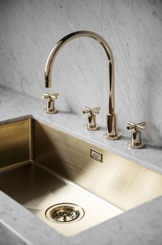 aquabrass contemporary gooseneck widespread kitchen faucet with cross handles in polished nickel - the ultimate guide to luxury plumbing by the delight of design ( sink) Minimal Kitchen Design, Interior Design Kitchen, Gold Interior, Minimalist Kitchen, Küchen Design, Layout Design, Sink Design, Design Ideas, Design Blogs