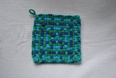 Blue and Green Cross and Sqaures Potholder by BlackberryFlats, $4.00 Potholder Loom, Potholder Patterns, Potholders, Weaving Patterns, Loom Weaving, Hot Pads, Fabrics, Crafty, Things To Sell