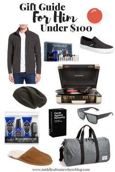 Holiday gift guide for him all under $100; men's gift ideas