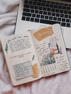 January Bullet Journal Cover Page Ideas {Get inspired!} – Scrapbook journal – Home crafts Album Journal, Planner Bullet Journal, January Bullet Journal, Bullet Journal Cover Page, Bullet Journal Art, Bullet Journal Spread, Scrapbook Journal, Journal Layout, Journal Covers