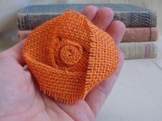 Orange Burlap Flower Shabby Chic Rustic Wedding Fall Autumn Decor Pumpkin Rosette Craft DIY Supplies Handmade Fabric Flowers Bridal Decor on Etsy, $1.50