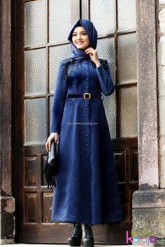 Püsküllü Kadife Elbise - İndigo