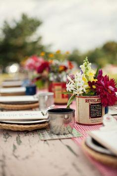 Indian Summer Camp Wedding -- gingham table runner