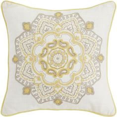 Floral Medley Beaded Medallion Pillow
