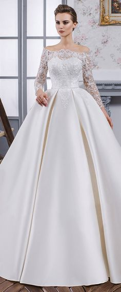 Fabulous Tulle & Satin Off-the-shoulder Neckline Ball Gown Wedding Dress With Lace Appliques & Beadings