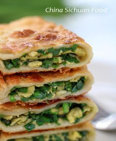 chive #pancake with chive and scrambled egg and dried small shrimps as filling.