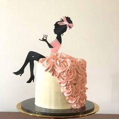 25th Birthday Cakes, Barbie Birthday, Happy Birthday, Silhouette Cake, Girl Silhouette, Chocolate Transfer Sheets, Ribbon Cake, Plastic Girl, Sitting Girl