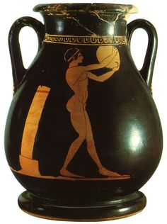 Athlete with discus. Red-figure pelike. Attic. By the Geras Painter. Clay. 490—480 B.C.The athlete holds a discus in his hands. He is represented in the phase of the preparatory swinging movements, arms raised and right leg forward. Behind the athlete is a post indicating the training area. Discus-throwing was part of the pentathlon which comprised 5 disciplines: discus, javelin, long jump, stade race and wrestling.