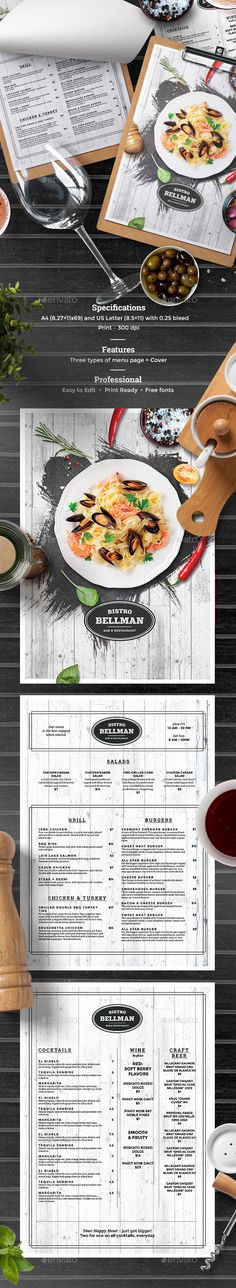 Elegant Cafe Menu — Photoshop PSD #print template #restaurant • Available here ➝ https://graphicriver.net/item/elegant-cafe-menu/20653995?ref=pxcr