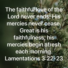 Lamentations The faithful love of the LORD never ends! Inspirational Bible Quotes, Bible Verses Quotes, Faith Quotes, Wisdom Quotes, Prayer Scriptures, Faith Prayer, Religious Quotes, Spiritual Quotes, Lamentations