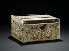 """8th century Anglo-Saxon Casket (""""The Franks Casket"""" or """"The Auzon Casket"""") at the British Museum, London - From the curators' comments: """"Lidded rectangular box made of whale-bone, carved on the sides and top in relief with scenes from Roman, Jewish, Christian and Germanic tradition."""""""