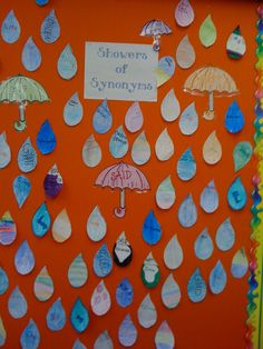 Showers of synonyms Literacy And Numeracy, Literacy Games, Speech Activities, Language Activities, Speech Bulletin Boards, Classroom Bulletin Boards, Classroom Ideas, Teaching Language Arts, Speech And Language