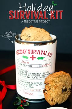 Holiday Survival Kit - The perfect easy and inexpensive gift! Can be filled with candies cookies or any other goodies! Holiday Survival Kit - The perfect easy and inexpensive gift! Can be filled with candies cookies or any other goodies! Last Minute Christmas Gifts, All Things Christmas, Holiday Gifts, Christmas Holidays, Christmas Ideas, Holiday Ideas, Country Christmas, Winter Holidays, Christmas Cookies