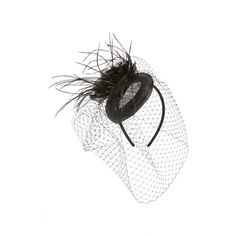 Women's August Hat 'Cinderella' Fascinator (55 CAD) ❤ liked on Polyvore featuring accessories, hair accessories, hats, black, head wrap headbands, fascinator headband, hair fascinators, feather hair accessories and august hat