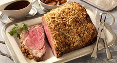 Prime Rib with Blue Cheese Crust and Shallot Jus