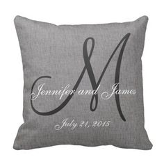 Gray White Linen Monogram Wedding Keepsake Pillow