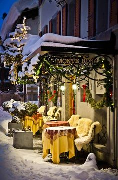 Monte Rosa, Zermatt, Switzerland.....'TWOULD BE SO NICE TO HAVE HOT CHOCOLATE & SCONES IN THIS OUTSIDE WINTER SHOPPE........EVEN SHEEP-SKIN  COVERING--ON THE CHAIRS....HOW NEAT....ccp