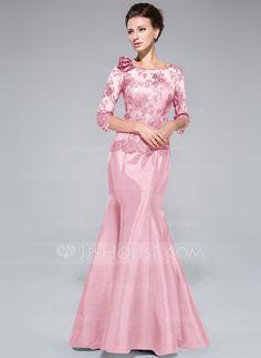 d923b70b54f Trumpet Mermaid Off-the-Shoulder Floor-Length Taffeta Lace Mother of the  Bride Dress With Flower(s) - Mother of the Bride Dresses - JJsHouse