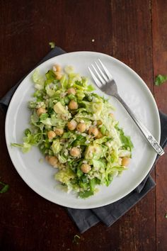 Avocado Chickpea Salad recipe. Protein: chickpeas and scant cojita cheese