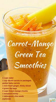 Carrot Mango Green Tea Smoothie Recipe Find out the benefits of this great recipe for Diabetic Sufferers via TheJuiceChief.com