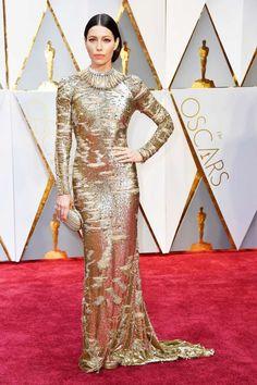 Jessica Biel In Gold Metallic KaufmanFranco Gown