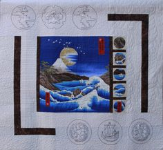 Asian quilt with sashiko by Linda Cottingham.  2014 San Joaquin Valley Quilters' Guild (California)