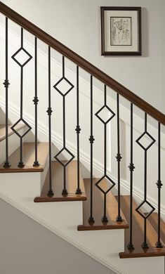 Media Gallery from Crown Heritage Stair Company - Crown Heritage Stair Company Steel Railing Design, Steel Stair Railing, Staircase Railing Design, Interior Stair Railing, Modern Stair Railing, Wrought Iron Stair Railing, Balcony Railing Design, Home Stairs Design, House Gate Design
