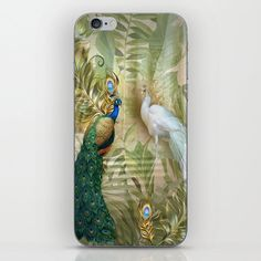 Vintage Royal Peacock Temple Dreams iPhone Skin by justkidding #PhoneSkin #graphicdesign #graphicdesign #peacock #white #buegree