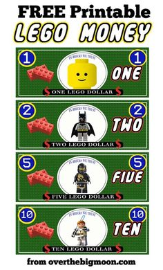Free Printable Lego Money! Use for play money, as a way for kids to earn money for an upcoming trip to Legoland. 3 styles available.