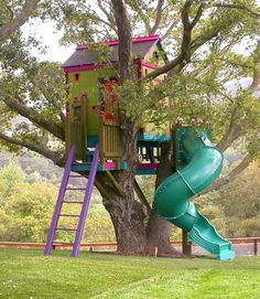"Location: Los Gatos, CA Barbara's tip: ""When designing a treehouse, I prefer to not have the tree limbs go through the roof because it makes harder to waterproof. So when starting a project, I look for space for the roof first.""   - CountryLiving.com"