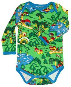 Adorable unisex bodysuit with some gorgeous scenery print all over. The suit features an envelope neckline and inner leg press studs for easy changing and dressing. Turquoise piping and made from oeko-tex 100% cotton. $36.95 from www.babygoesretro.com.au