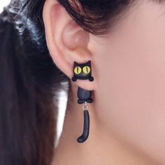 2019 New Design Fashion Handmade Polymer Clay Yellow Eyes Cat Animal Stud Earrings For Women Ear Stud Jewelry Brincos (Discount: 30 % ) 925 Silver Earrings, Women's Earrings, Chat 3d, Jewelry Accessories, Women Jewelry, Cat Jewelry, Jewelry Rings, Jewelry Design, Mercury
