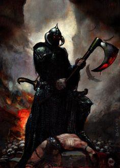 Death Dealer by Simon Bisley, in Richard Burchfield's Simon Bisley Comic Art Gallery Room Simon Bisley, Dark Fantasy Art, Fantasy Artwork, Dark Art, Fantasy Posters, Frank Frazetta, Arte Horror, Horror Art, Paladin