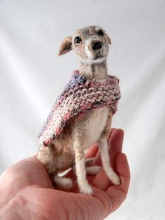 Spun cotton or needle felted? Either way an amazingly crafted whippet.