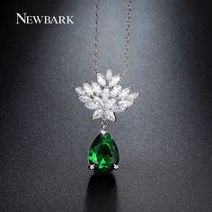 Green Pendant Necklace Teardrop CZ Diamond Lotus Flower Chain Necklaces