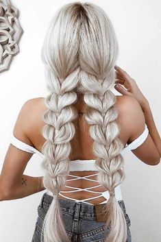 Top 60 All the Rage Looks with Long Box Braids - Hairstyles Trends Two Braids, Braids For Long Hair, Pigtail Braids, Marley Braids, Braids Easy, Blonde Braids, Side Braids, French Braids, Braids Wig