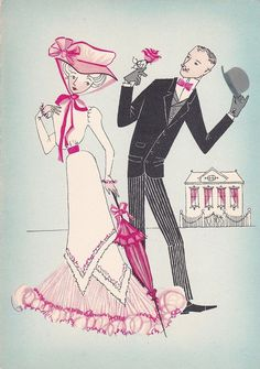 Vintage French Romance Greetings Card - Courting Couple -  Lady In Pink Dress