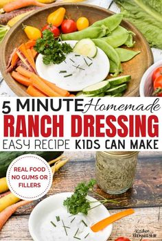 Homemade ranch dressing recipe - so easy my can make it himself! You'll never go back to the bottled stuff. Healthy Side Dishes, Side Dish Recipes, Healthy Snacks, Healthy Recipes, Easy Recipes, Meatless Recipes, Free Recipes, Healthy Rice, Yogurt Recipes