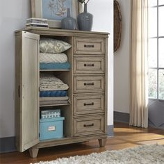 Add relaxed, casual styling to your bedroom with this handsome door chest. Top Drawer, Drawer Fronts, Homemakers Furniture, Liberty Furniture, Quality Furniture, Adjustable Shelving, Homemaking, Drawers, Handsome