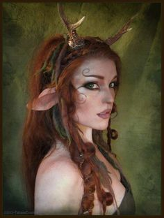 Faun makeup by TatharielCreations/ This is so beautiful for cosplay, halloween running in a forest to be with the other animals WHAT XD Faun Makeup, Elf Makeup, Cosplay Makeup, Costume Makeup, Makeup Ideas, Larp, Elf Costume, Cosplay Costumes, Nymph Costume