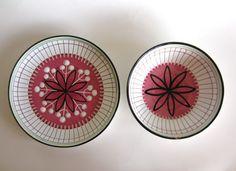 Elle Norway Bowl Plate Set Pink Green White Redware Scraffito Pottery Scandinavian Mid Century Modern Norwegian Home