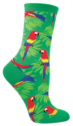 Crew length sock with bright tropical parrots. Available in black or green. Fits women's shoe size 5-10.