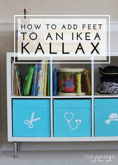 Capita legs White Learn how to add feet to an IKEA Kallax to give an off-the-shelf storage system a custom & more sophisticated look. This tutorial walks you through this easy update! Ikea Furniture Hacks, Furniture Projects, Home Projects, Ikea Hacks, Diy Sofa Table, Console, Playroom Organization, Organizing Toys, Organization Ideas