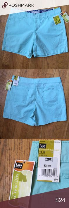 "NWTLEE Natural Fit Just Below the Waist Shorts NWTLEE Natural Fit Just Below the Waist Shorts.   ""Island breeze"" Aqua blue cotton/spandex blend material.  Waist 34"".  Inseam length 5"".  Rise 11"".   NWT Lee Shorts"