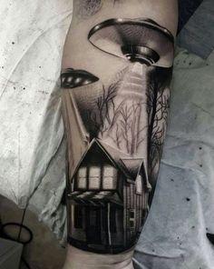 36 Captivating UFO Tattoo Designs