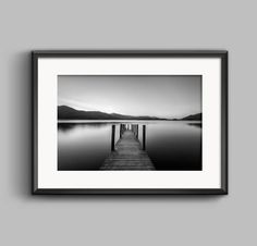 Black and white landscape photograph of Ashness Jetty, Derwentwater, Lake District / Giclee Print / wall art / home decor / Photography