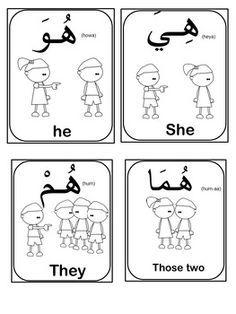 Education - Arabic Pronouns flash cards-(Bundle of 14 flash cards) Arabic Verbs, Arabic Phrases, Arabic Quotes, Arabic Alphabet Letters, Arabic Alphabet For Kids, Sign Language Phrases, Arabic Language, Learn Arabic Online, Arabic Lessons